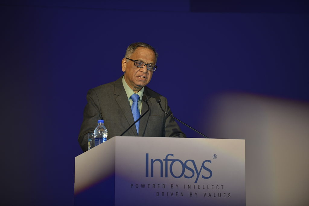 Murthy addressing a press conference in Bangalore. (Hemant Mishra/Mint via GettyImages)