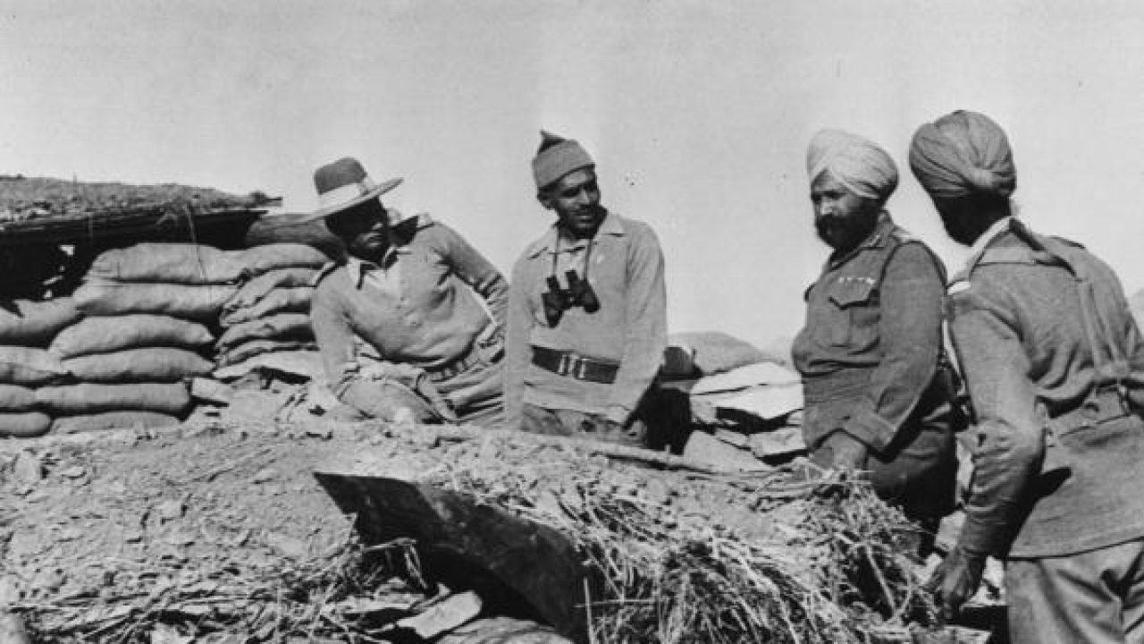Indian officers occupying one of the forts in the Ladakh region of northern India during border clashes between India and China. (Radloff/Three Lions/GettyImages)