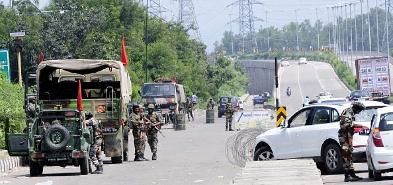 Army deployed after the clash between Dera followers and security force in Panchkula, Chandigarh, India. (Keshav Singh/Hindustan Times via GettyImages)