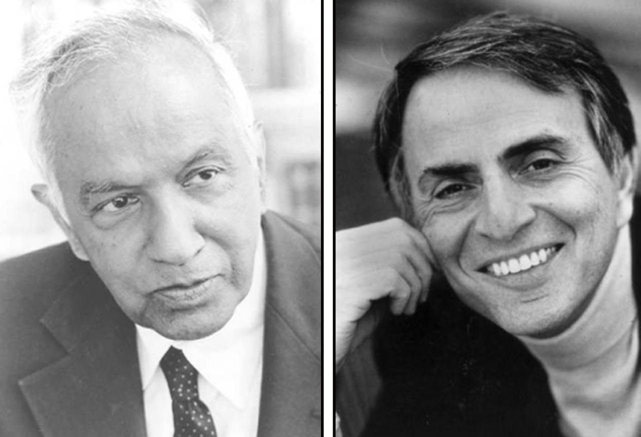 Physicists Subrahmanyan Chandrasekhar and Carl Sagan: Spiritual with no need for supernatural