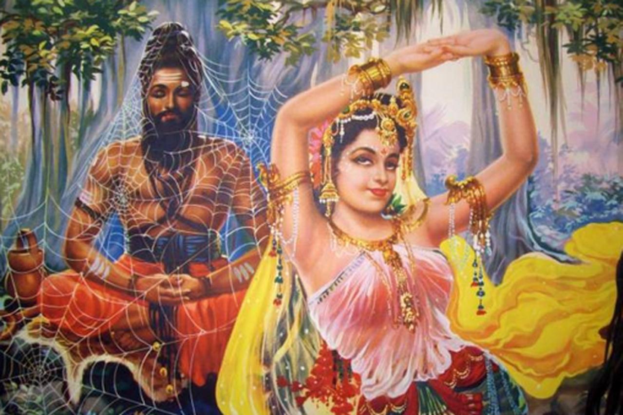 Hindu calendar art: Celestial nymph Maneka dancing before Viswamitra