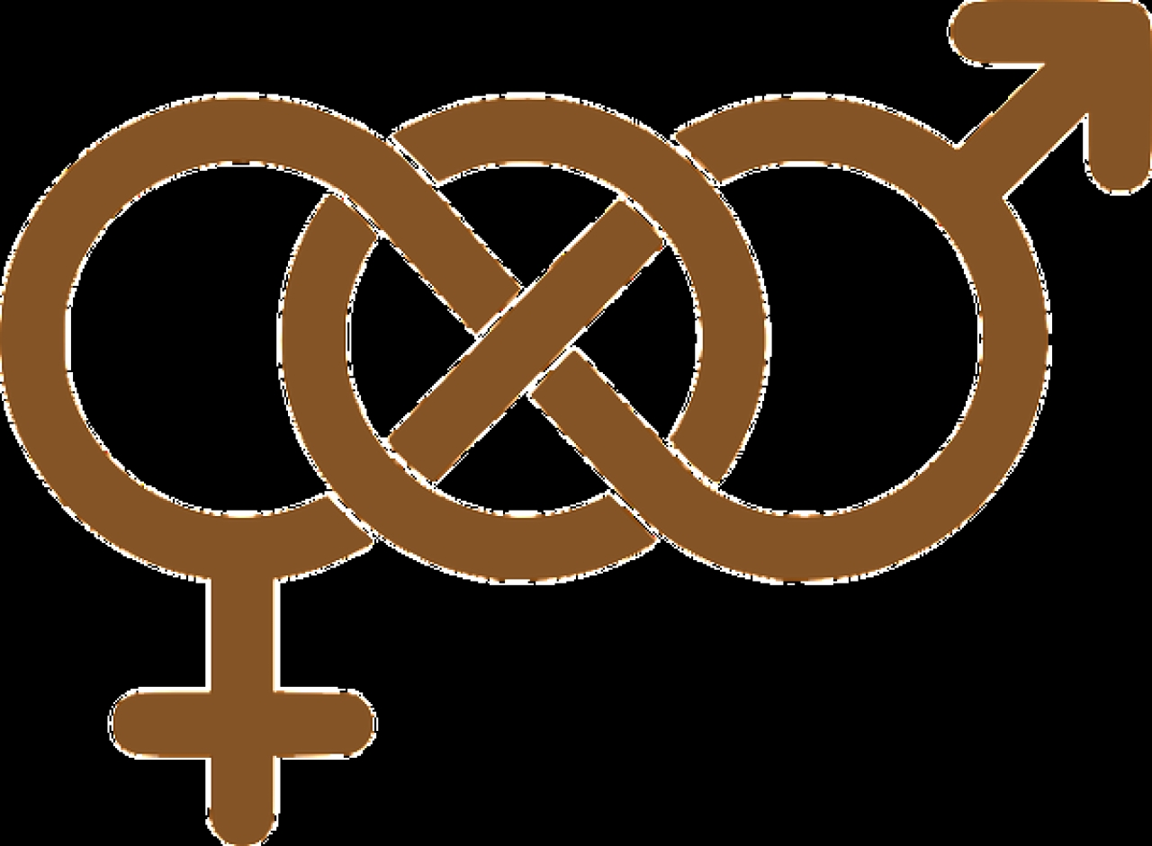 The two standard sex symbols, Mars and Venus, intertwined