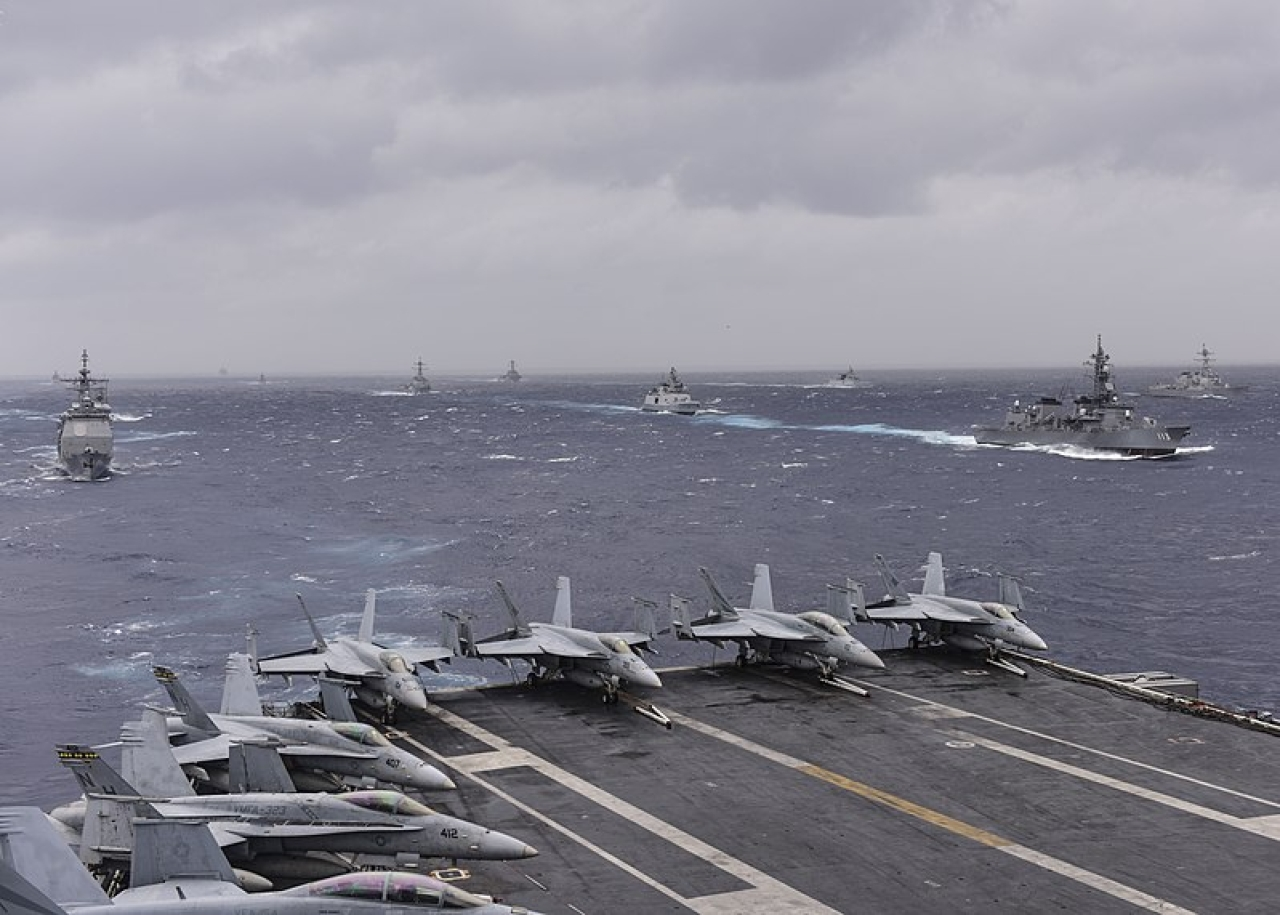 Ships from the Indian, Japan  and the US navies sail in formation in the Bay of Bengal during exercise Malabar 2017. (Wikimedia Commons)