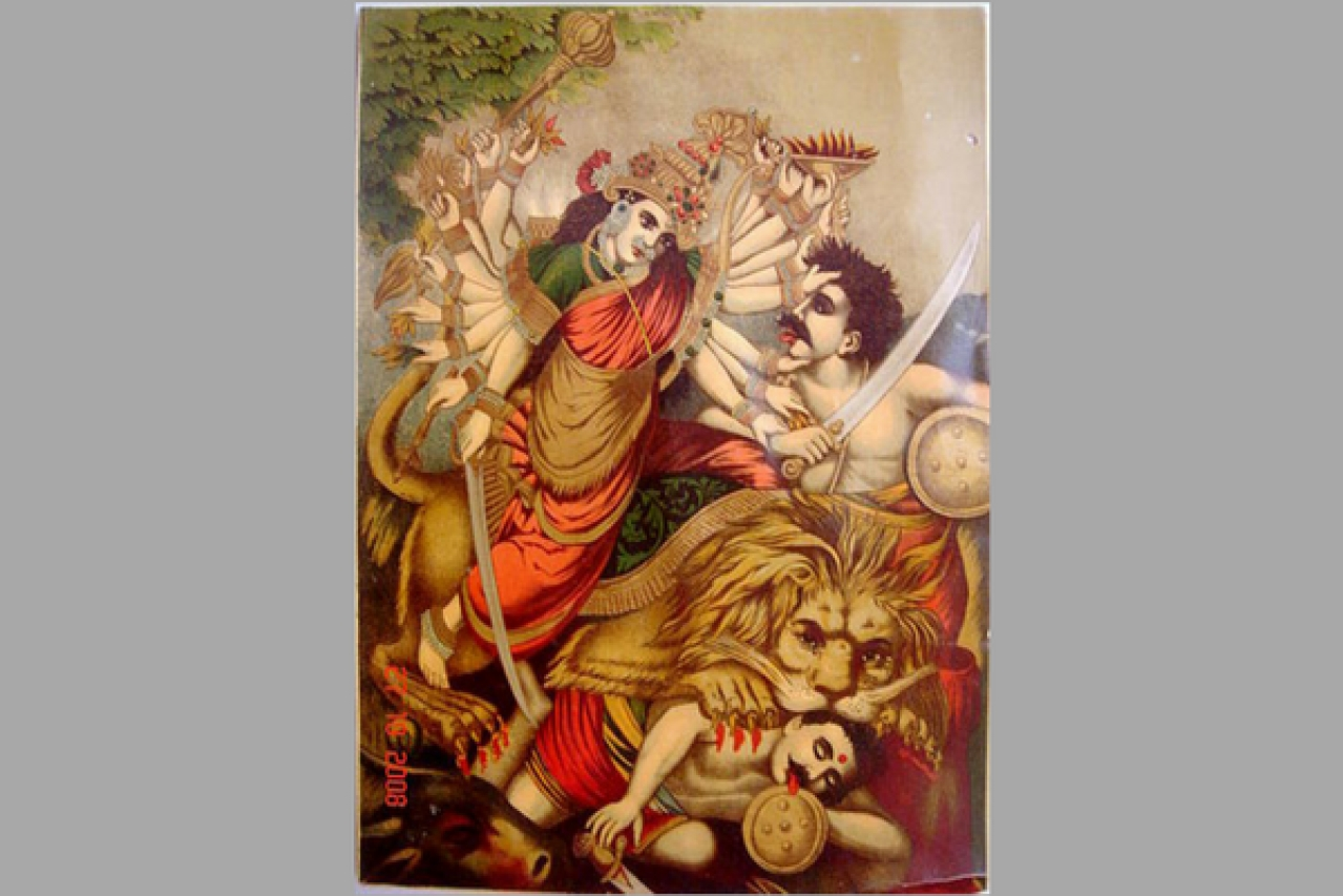 Durga Mahishasura-mardini, the slayer of the buffalo demon. (