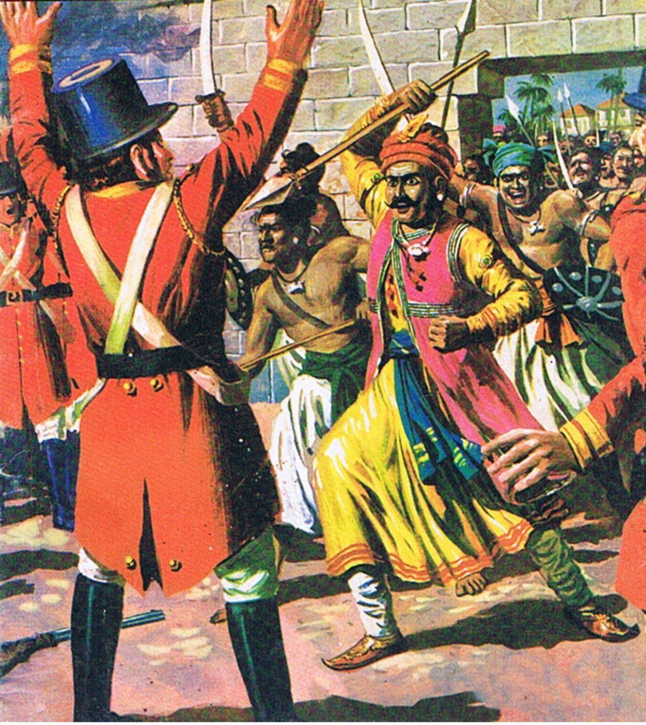 Veluthampi Dalawai attacking British:picture courtesy: Amar Chitra Katha