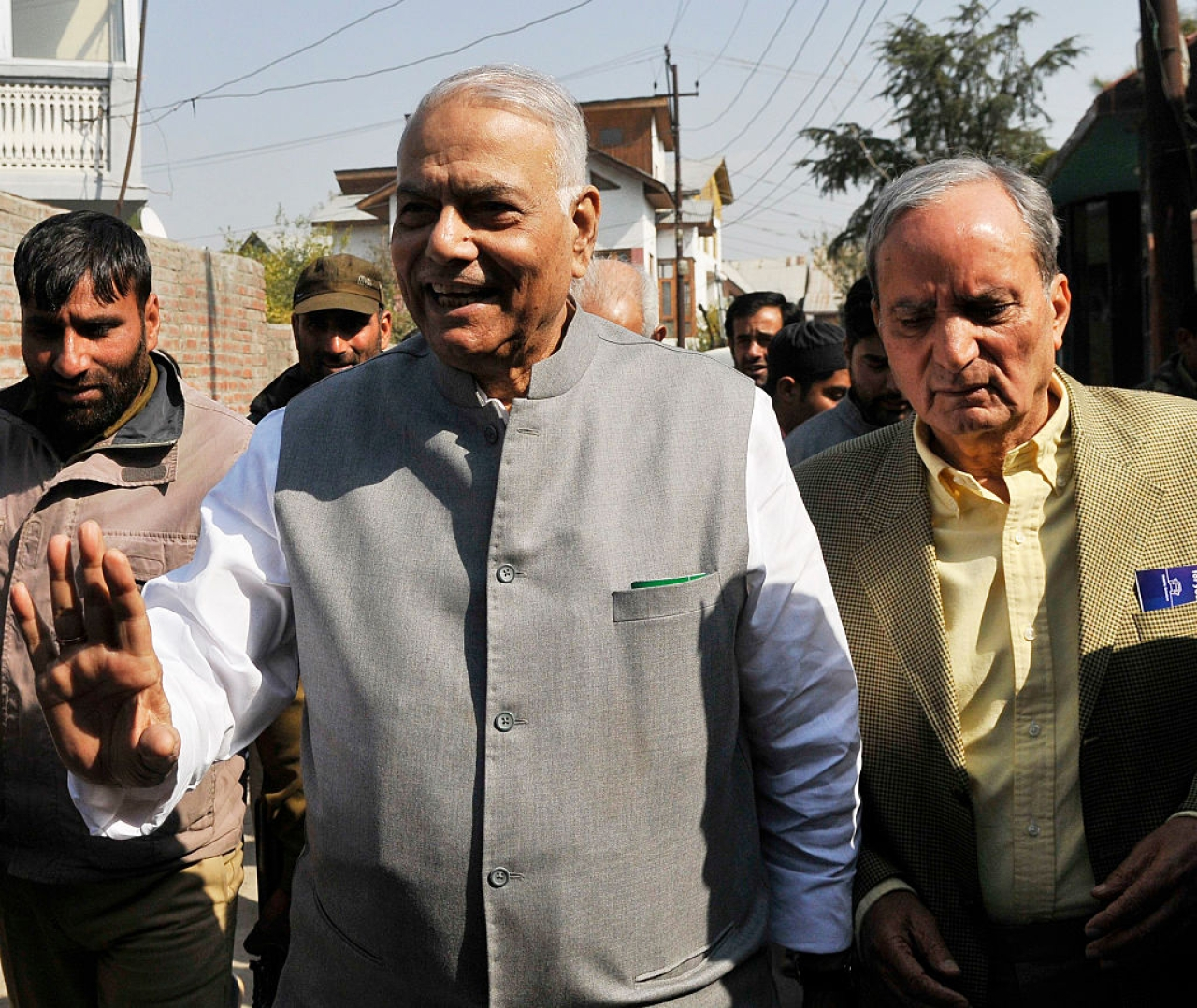 Yashwant Sinha during a 2016 visit to Srinagar, Kashmir. (Waseem Andrabi/Hindustan Times via GettyImages)