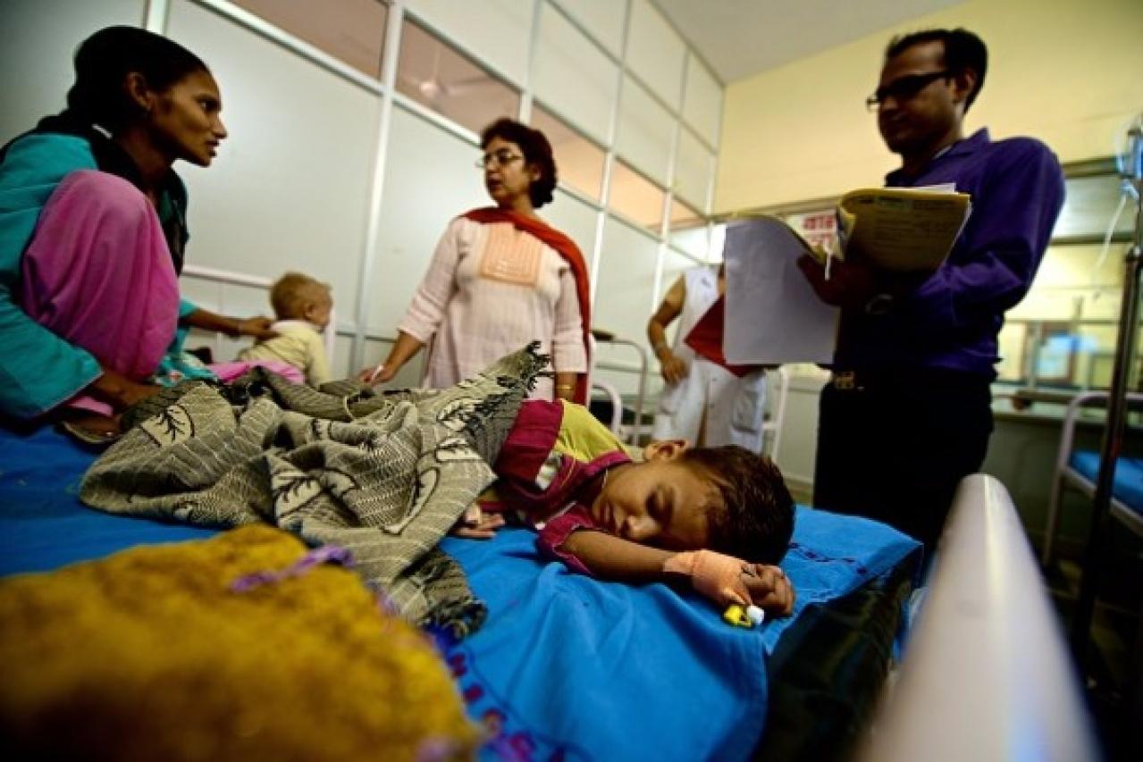 Children suffering from malnutrition getting treated at Guru Gobind Singh Hospital in 2014 in New Delhi. (Priyanka Parashar/Mint via Getty Images)
