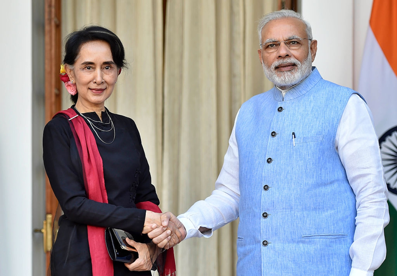 Prime Minister Narendra Modi with Myanmar's Foreign Minister Aung San Suu Kyi ahead of a bilateral meeting at Hyderabad House, in 2016 in New Delhi.