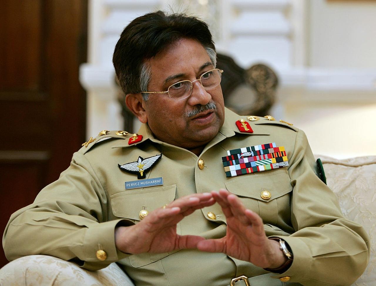 Former Pakistani president Pervez Musharraf talks with media representatives at his camp office in Rawalpindi. (AAMIR QURESHI/AFP/Getty Images)