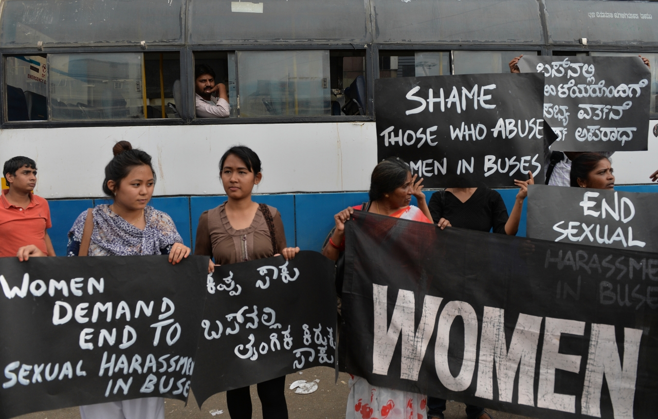 Women protesting against harassment in buses (Manjunath Kiran/AFP/Getty Images)