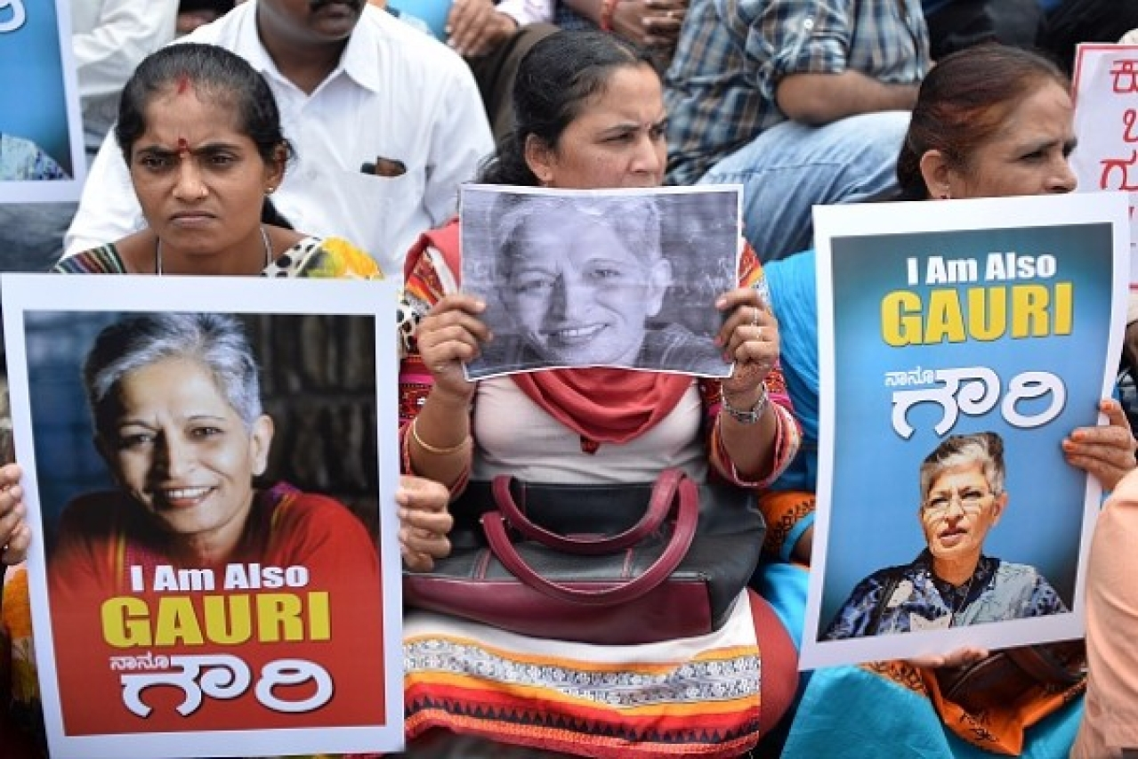 Indian protesters take part in a rally condemning the killing of journalist Gauri Lankesh in Bengaluru on 6 September  2017. (MANJUNATH KIRAN/AFP/Getty Images)