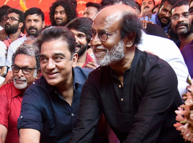 Alliance In The Works? Haasan Meets Rajinikanth Days Before Announcing Name Of His Political Party