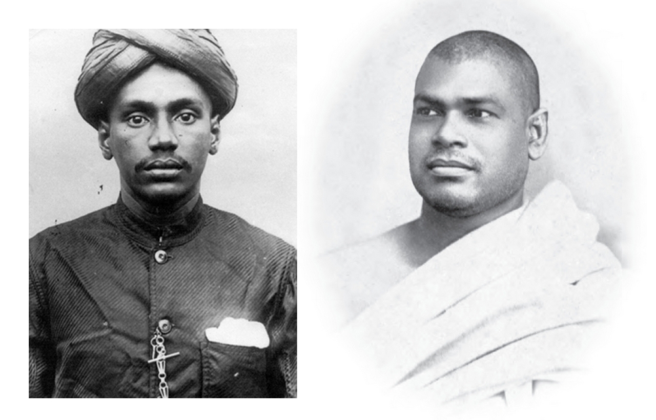 Left:  Young V O Chidambaram Pillai ; and right:  Swami    Ramakrishananda