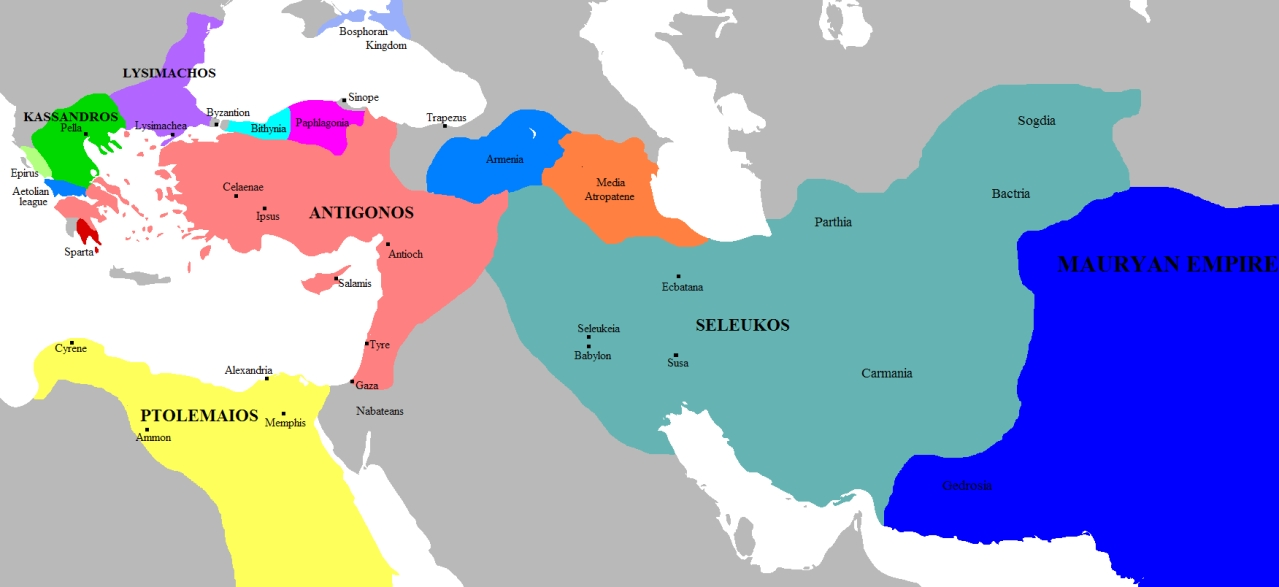 "Split-up of Alexander's empire after the War of the Diadochi. Seleucid Empire Marked in Green (<a href=""https://www.ancient.eu/image/581/"">Ancient History Encyclopedia</a>)"