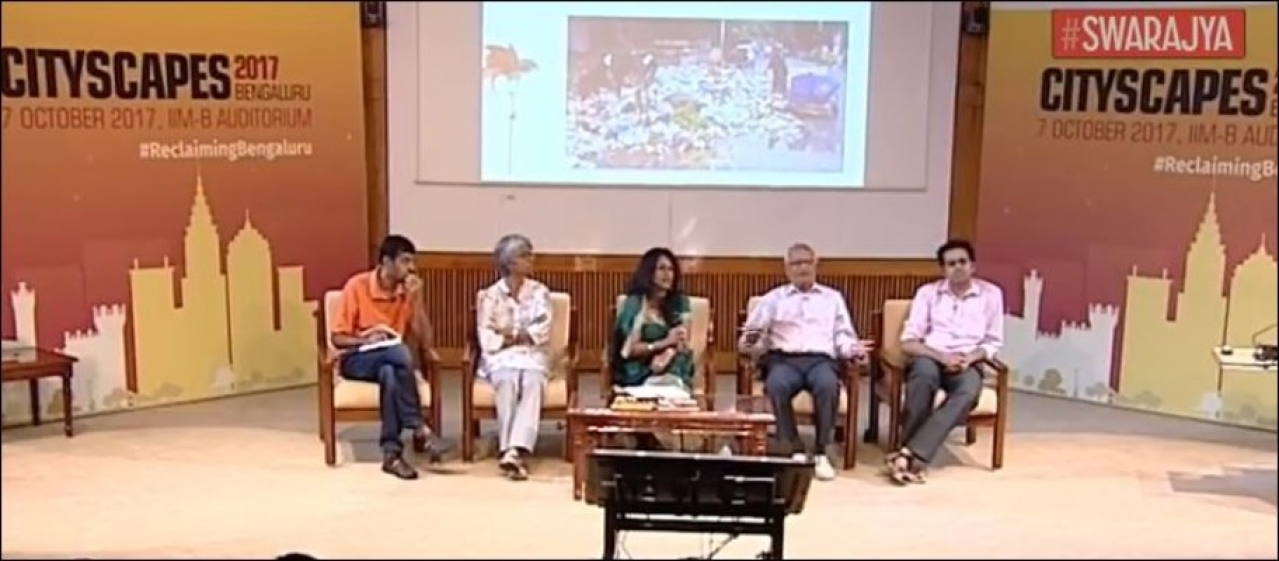 The panel debating the challenges of solid waste disposal.