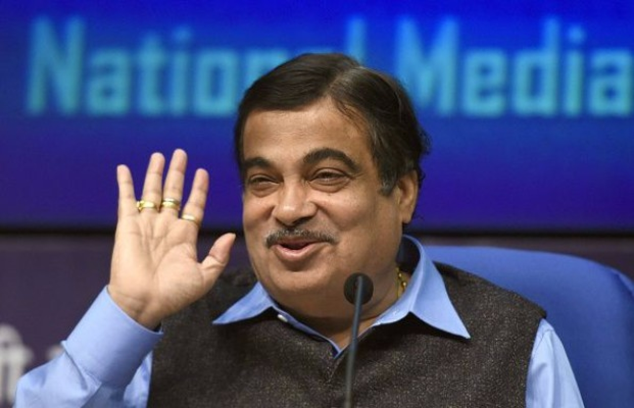 Nitin Gadkari addressing a press conference on the Bharatmala highway project in New Delhi. (Sonu Mehta/Hindustan Times via Getty Images)