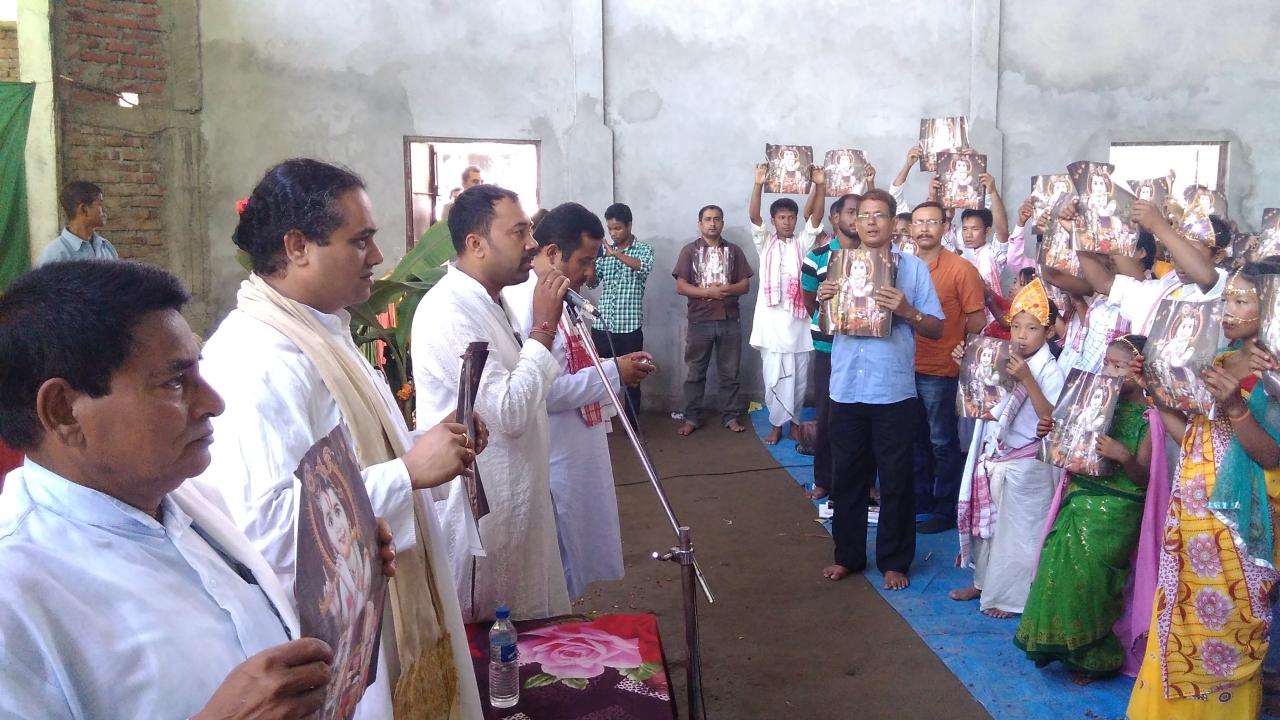 Goswami (second from right) at a Shishu Sanskar Shibir in Majuli