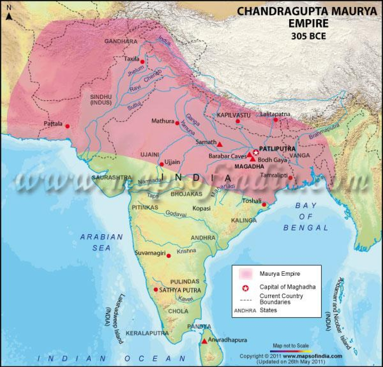 Chandragupta Maurya's empire post his victory over Seleucus extending to Seleucid Persia (Maps of India)
