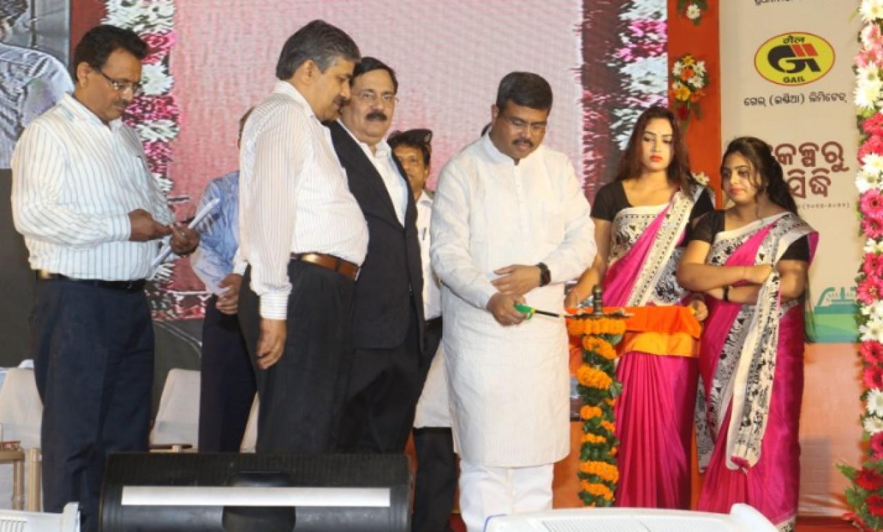 Pradhan inaugurating the PNG supply at Nalco Nagar. (@dpradhanbjp )