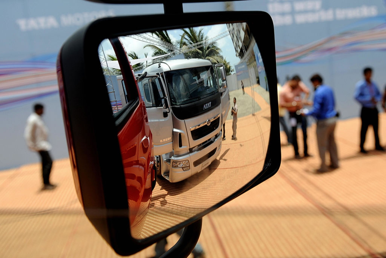 A newly launched Tata Motors World Truck on display in Mumbai. (PAL PILLAI/AFP/GettyImages)