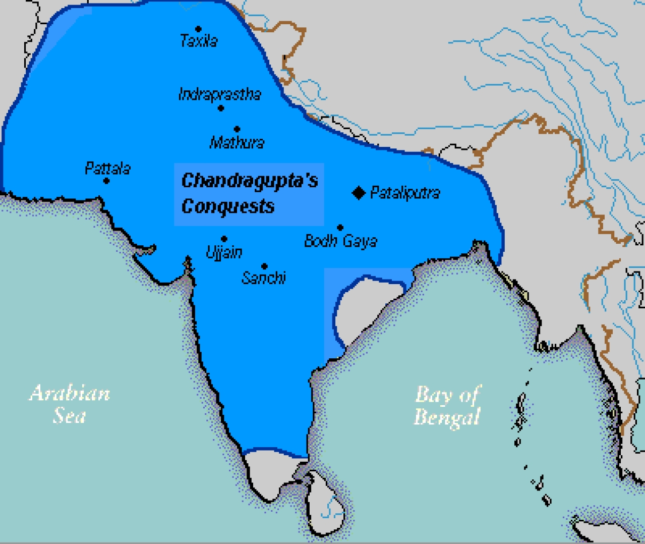 "Chandragupta Maurya's Empire according to Jain texts (Kulke, Hermann; Rothermund, Dietmar (2004), A History of India (4th ed.), <a href=""https://en.wikipedia.org/wiki/London"">London</a>: <a href=""https://en.wikipedia.org/wiki/Routledge"">Routledge</a>)"
