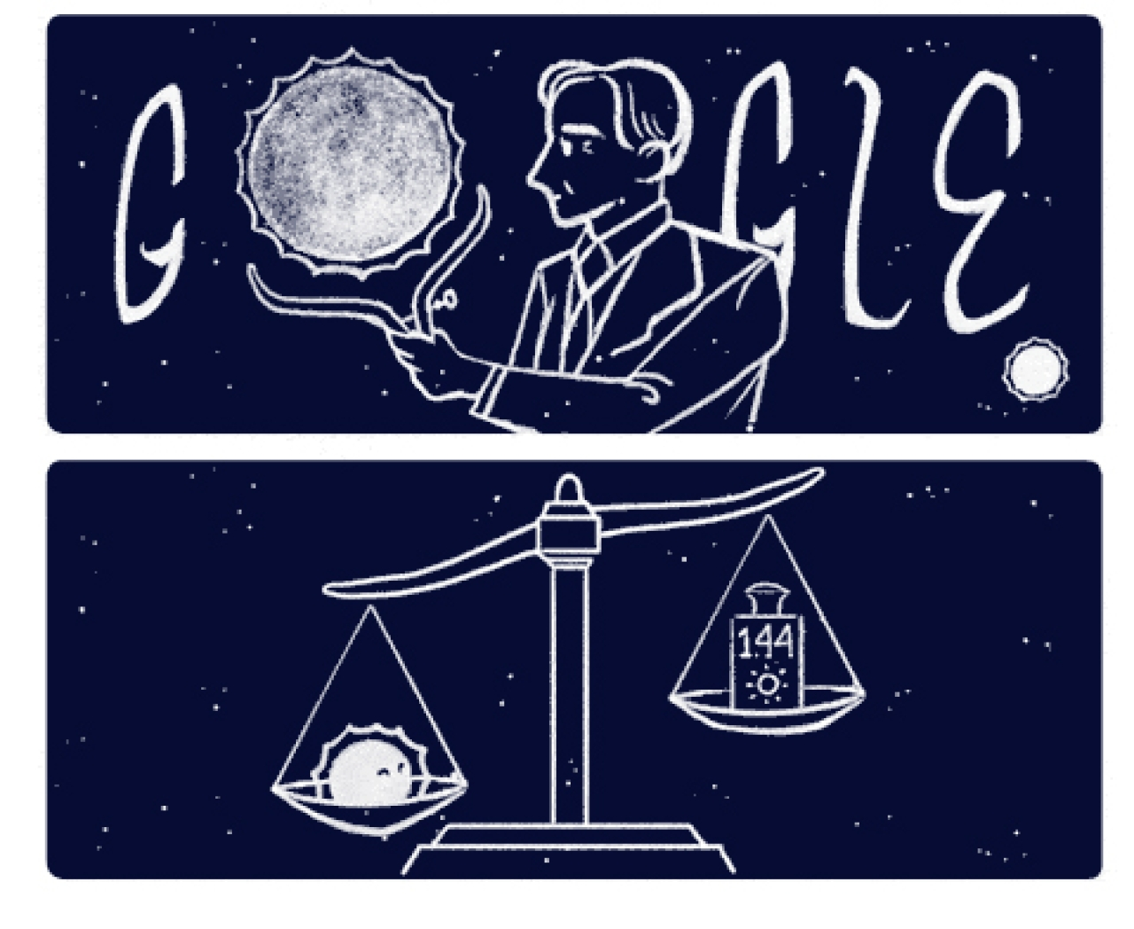 Doodle images put out by Google to honour astrophysicist Chandrasekhar Subrahmanyan (1910-1995)