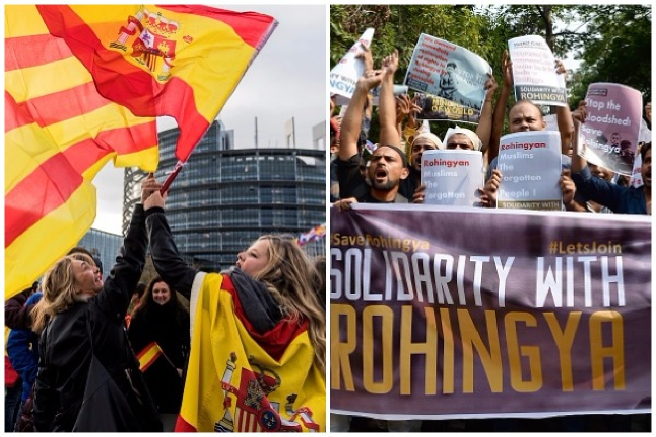 Women hold Spanish and Catalan flags during a demonstration against Catalonia's independence. (PATRICK HERTZOG/AFP/Getty Images) / Indian demonstrators shout slogans as they protest against the treatment of Rohingya Muslims in Myanmar. (SAJJAD HUSSAIN/AFP/Getty Images)