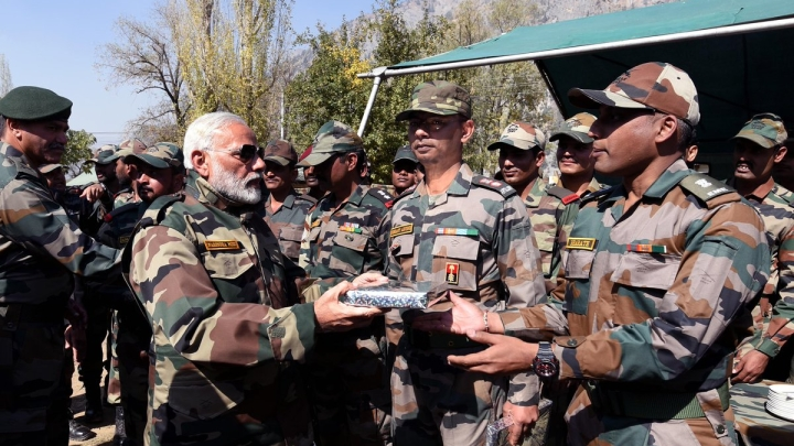 Prime Minister Modi Celebrates Deepavali With Soldiers In Kashmir