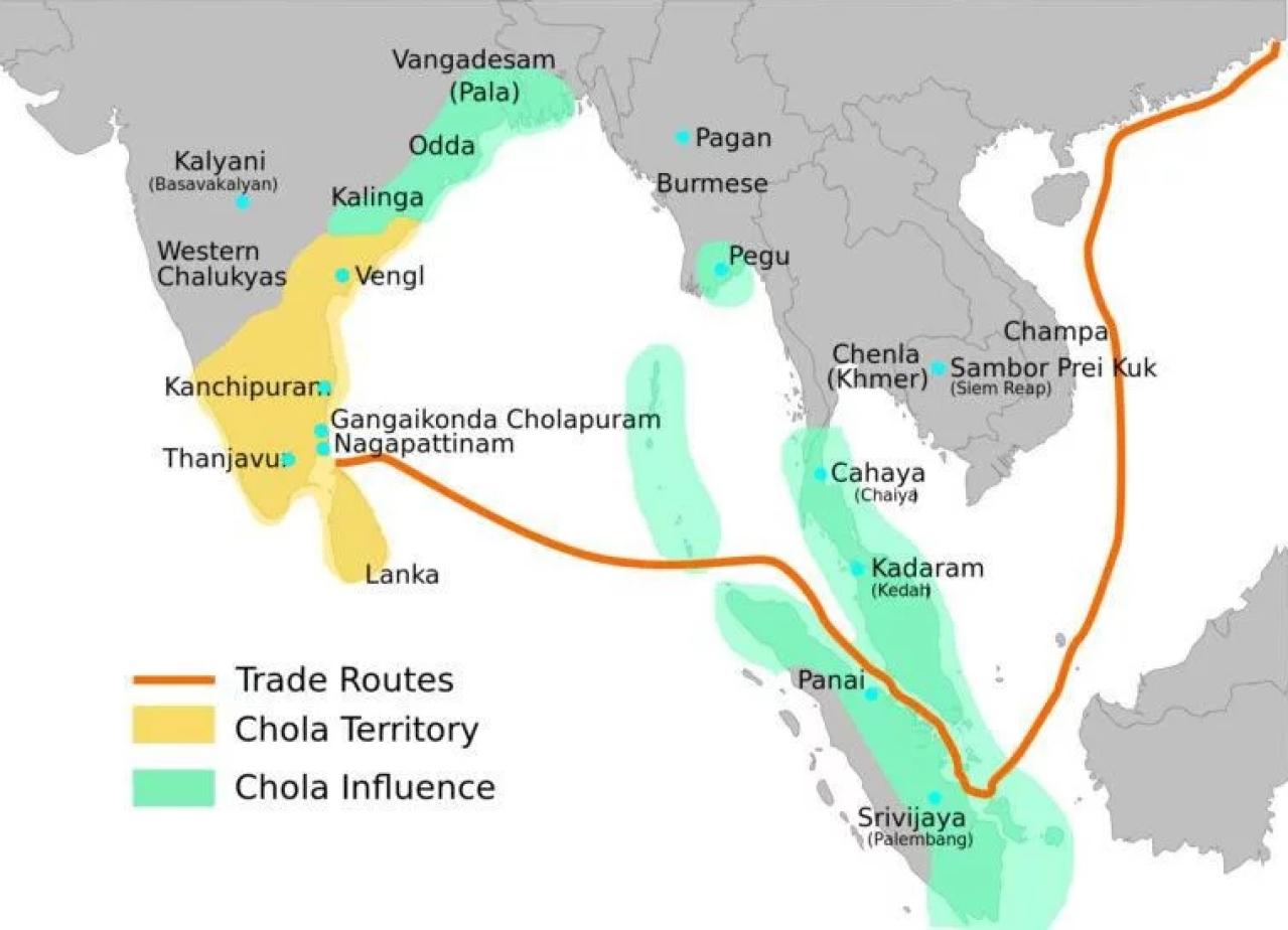 Rajendra Chola's Empire post his victory over Srivijaya. (http://www.ancient-civilizations.com)