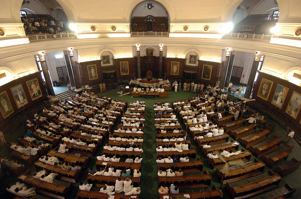 Ruling and opposition party members at central hall of Parliament in New Delhi. (PRAKASH SINGH/AFP/Getty Images)