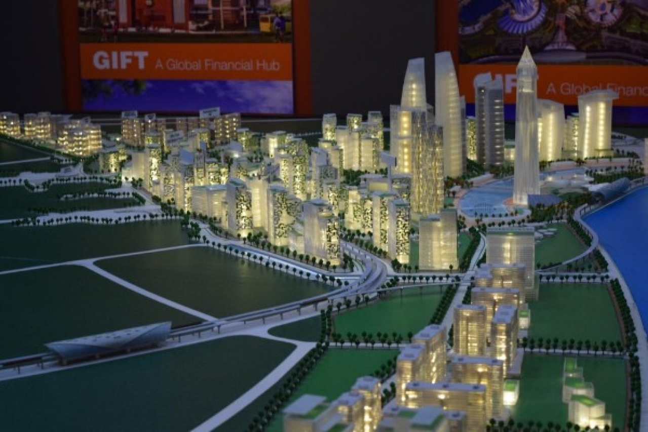 Artistic model of the plan for GIFT City