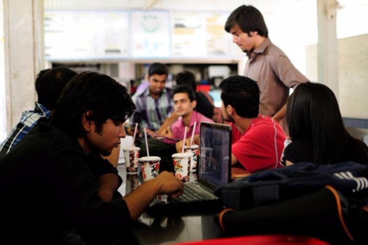 Students at Castro Cafe at Jamia Milia Islamia University. (Pradeep Gaur/Mint via Getty Images)