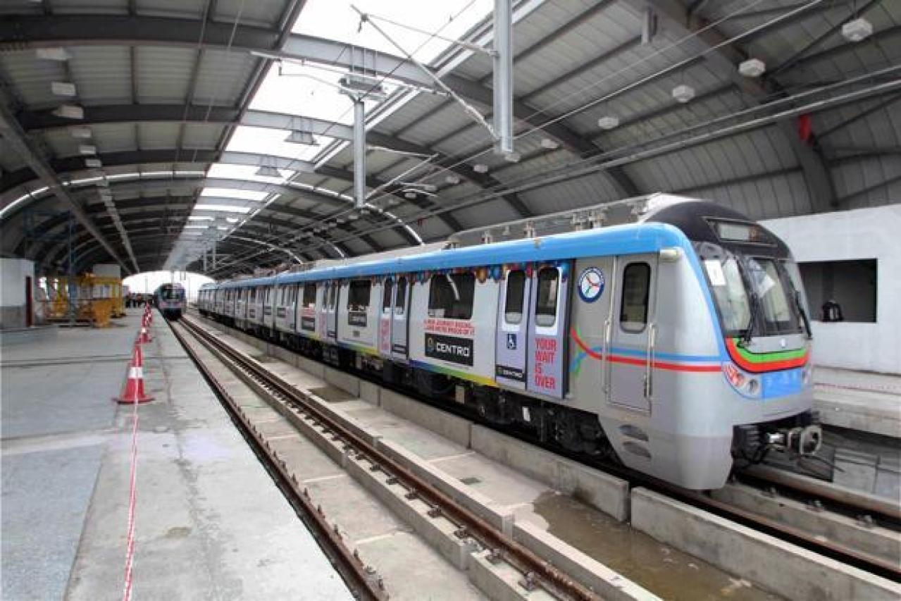 Hyderabad Metro rail undergoing a trial run (PTI)