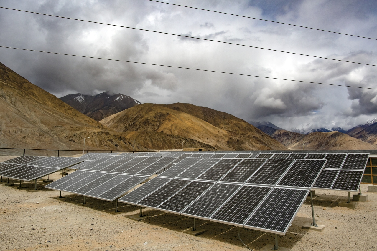 Solar panels in Laddakh (Allison Joyce/GettyImages)
