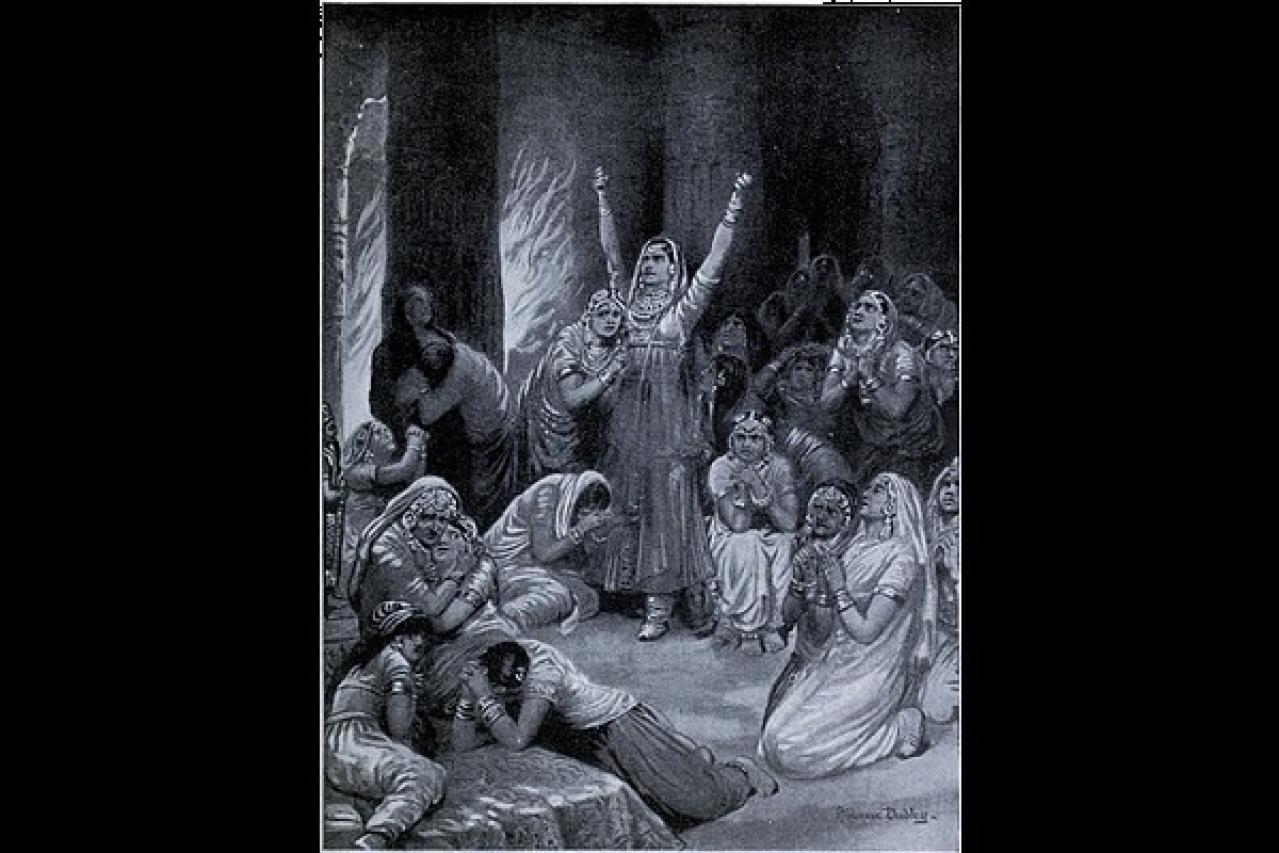 The Rajput ceremony of Jauhar (holocaust), 1567.