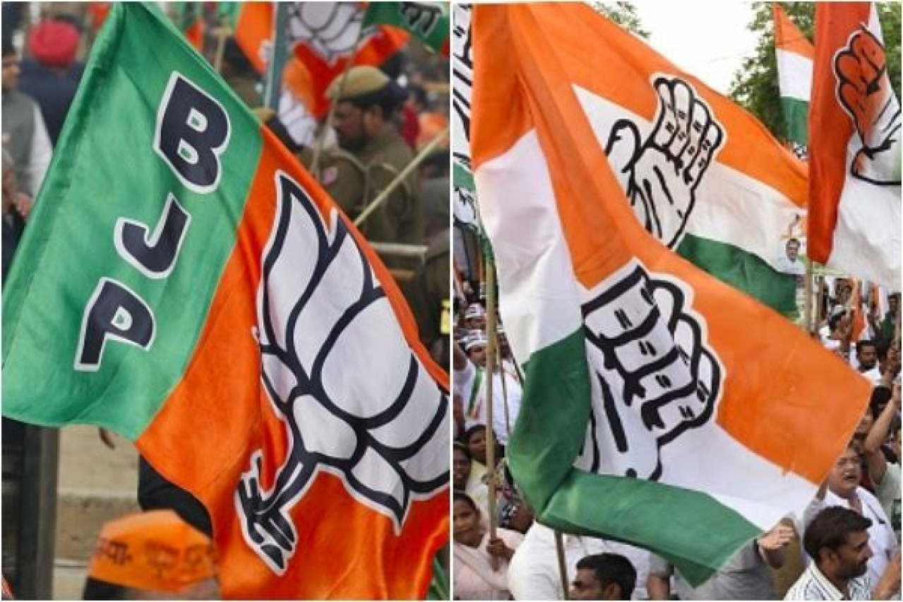 BJP and Congress supporters. (Raj K Raj/Hindustan Times via Getty Images and Sonu Mehta/Hindustan Times via Getty Images)