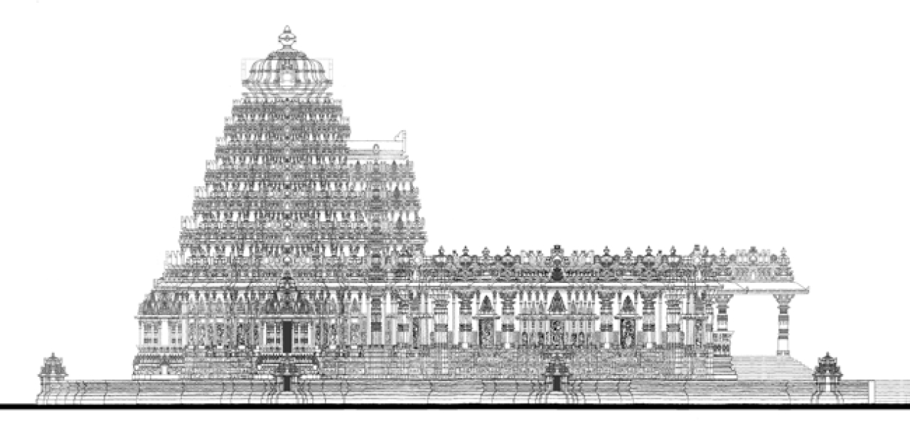 Side Elevation Of The Main Temple