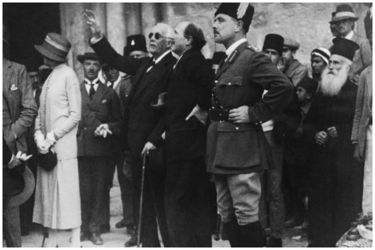 British politician Lord Arthur Balfour (1848 - 1930) points out a feature of the Church of the Holy Sepulchre to Governor Sir Ronald Storrs during a visit to Jerusalem, 9th April 1925. The city's Arab residents were on strike as a protest against the Balfour Declaration supporting plans for a Jewish homeland in Palestine. (Topical Press Agency/Hulton Archive/Getty Images)