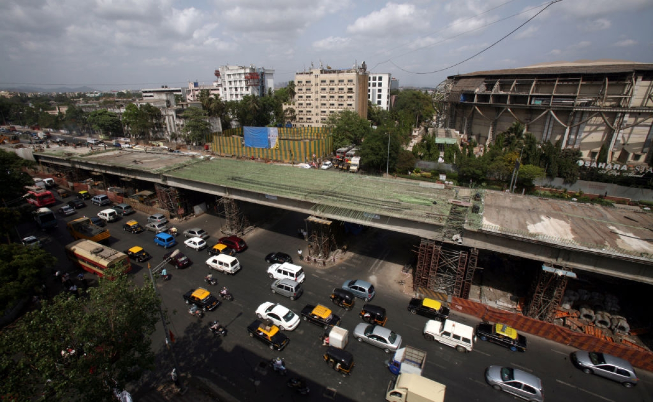 Construction of flyover in progress at the domestic airport signal on the Western Express Highway. (Satish Bate/Hindustan Times via Getty Images)