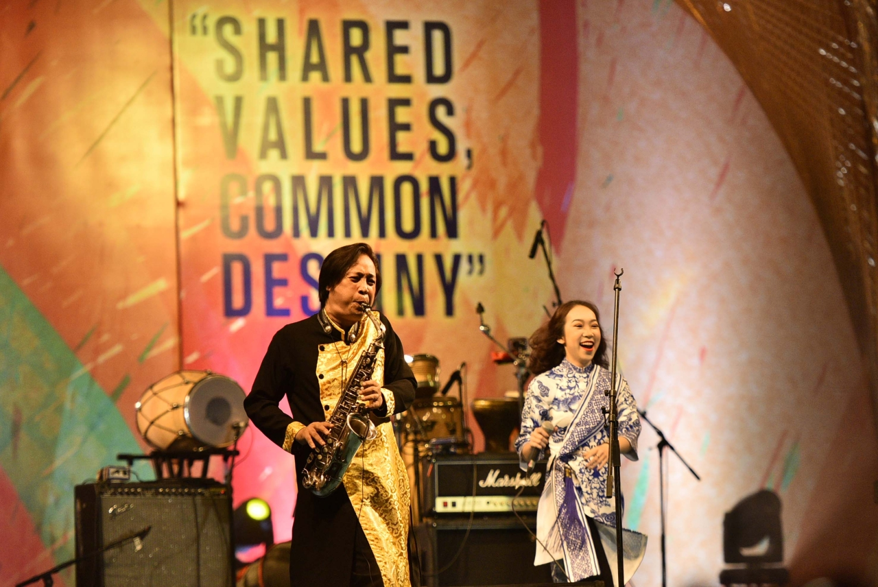 Vietnam artists perform at first ever ASEAN-India Music Festival 2017, organised by Ministry of External Affairs, Government of India in collaboration with Ministry of Culture, at Purana Qila, on 7 October 2017 in New Delhi. The festival is being organised to celebrate the 25th year anniversary of ASEAN-India Dialogue Relations. (Arun Sharma/Hindustan Times via GettyImages)