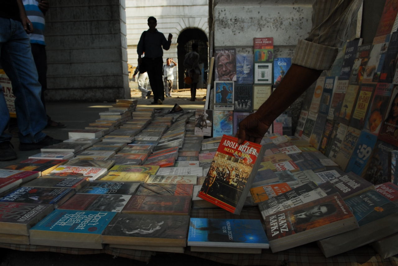 Mein Kampf displayed at a book stall. (Pradeep Gaur/Mint via GettyImages)