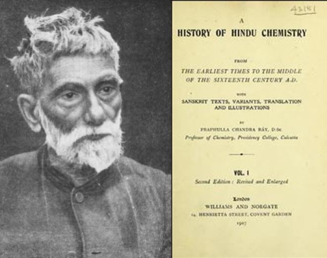 <p>Acharya P C Ray and his book on Hindu Chemistry</p>