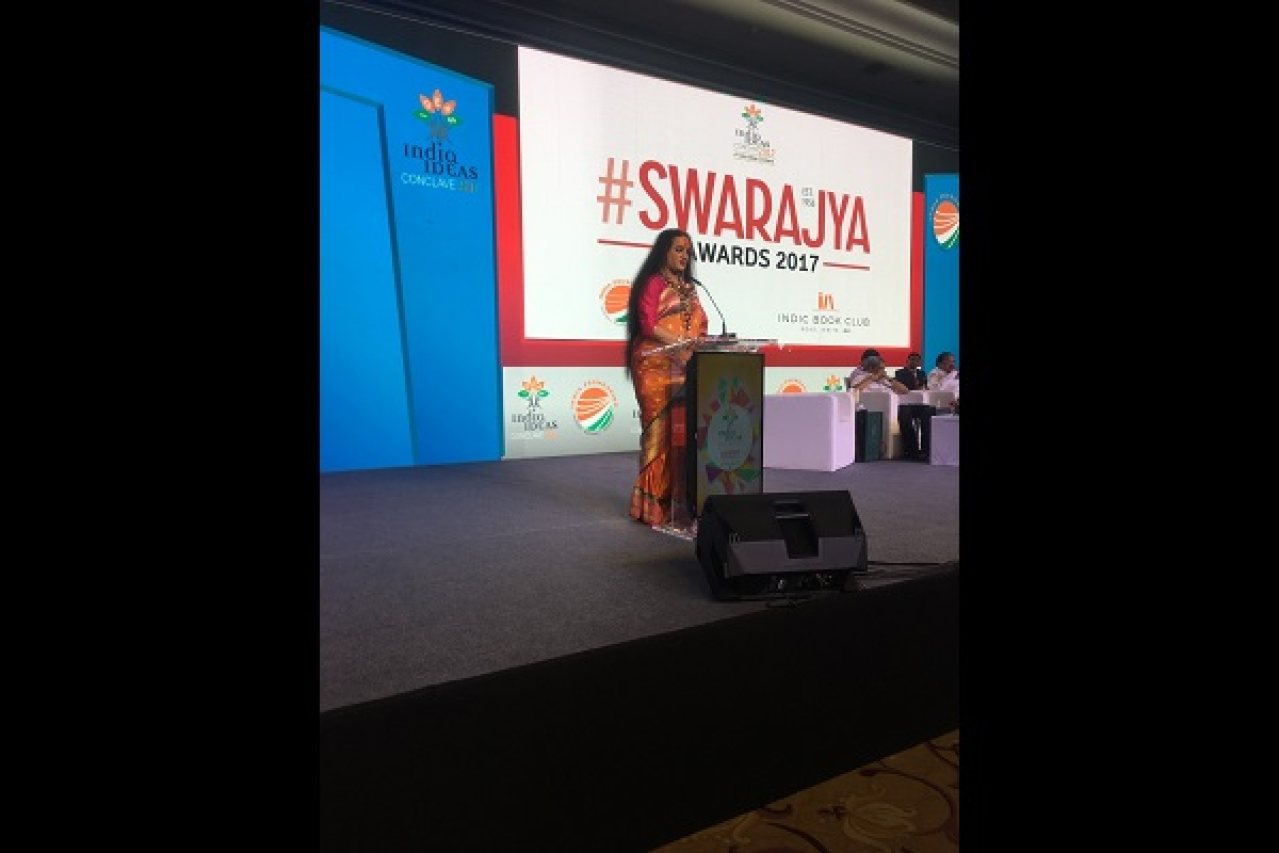 Laxmi Narayan Tripathi received Swarajya's Sree Narayana Guru Award for social service at India Ideas Conclave, Goa.