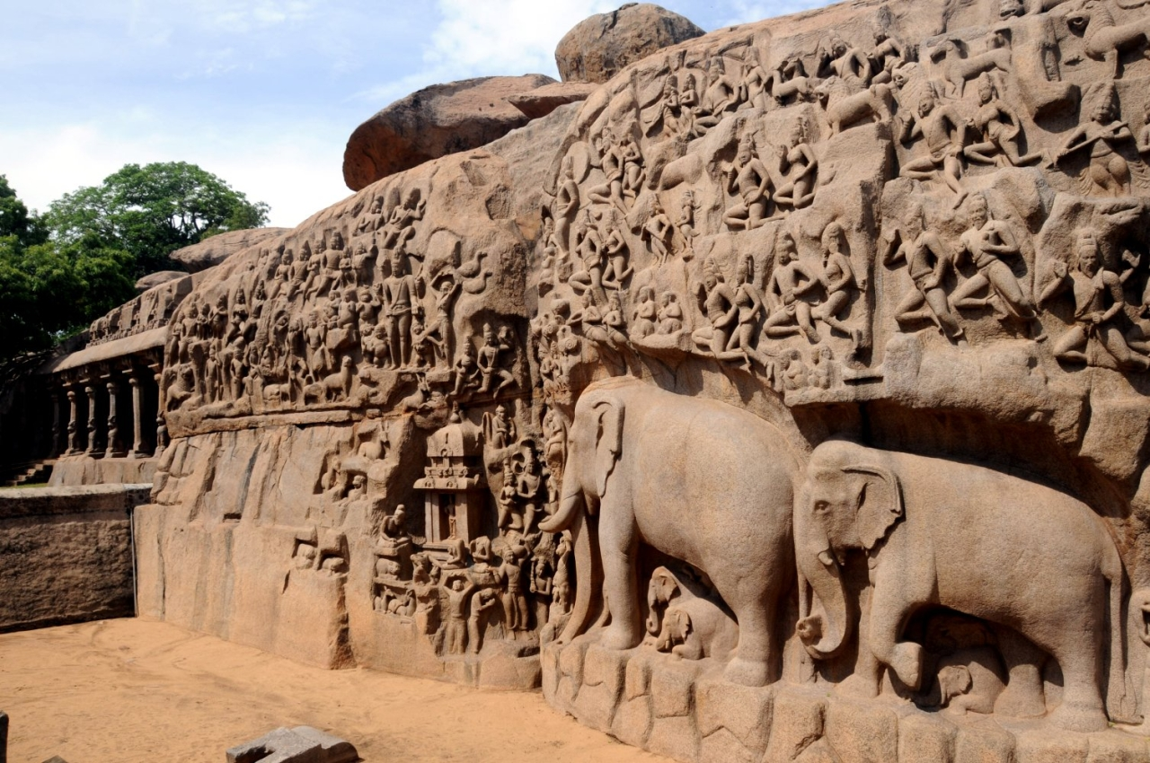 Mahabalipuram rock carvings. (Wikimedia)
