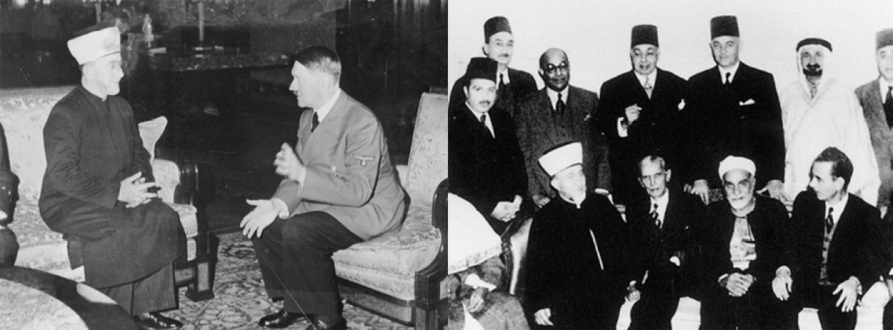 Left: Grand Mufti of Jerusalem Haj Amin al-Husseini with Hitler (1941) Right: Mufti with Jinnah (1946)