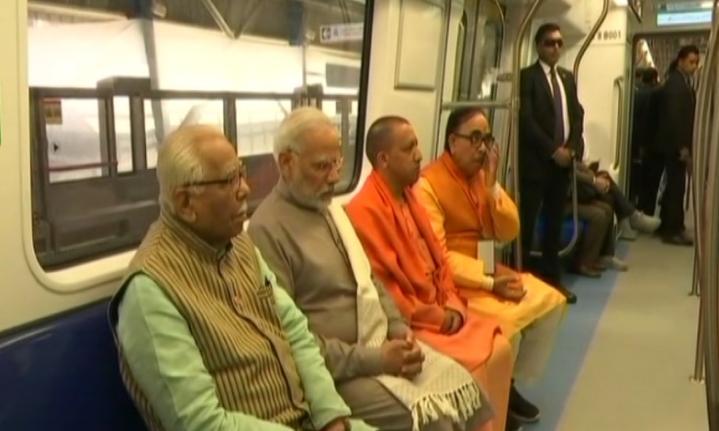 Prime Minister Modi Launches Delhi Metro's Magenta Line, Takes Ride With UP CM Yogi Adityanath