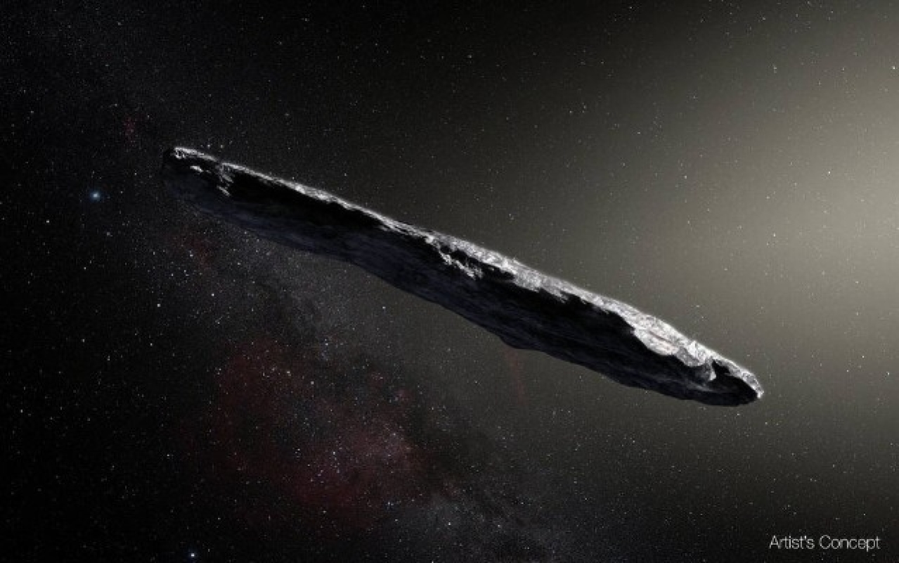 Artist's concept of interstellar asteroid 1I/2017 U1 ('Oumuamua) as it passed through the solar system after its discovery in October 2017. (European Southern Observatory/M. Kornmesser)