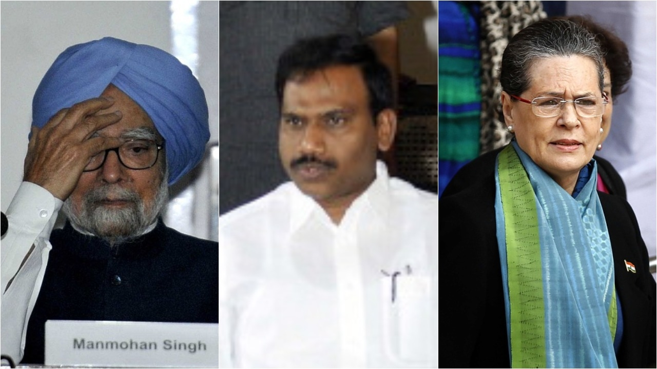 Manmohan Singh, Raja and Sonia Gandhi