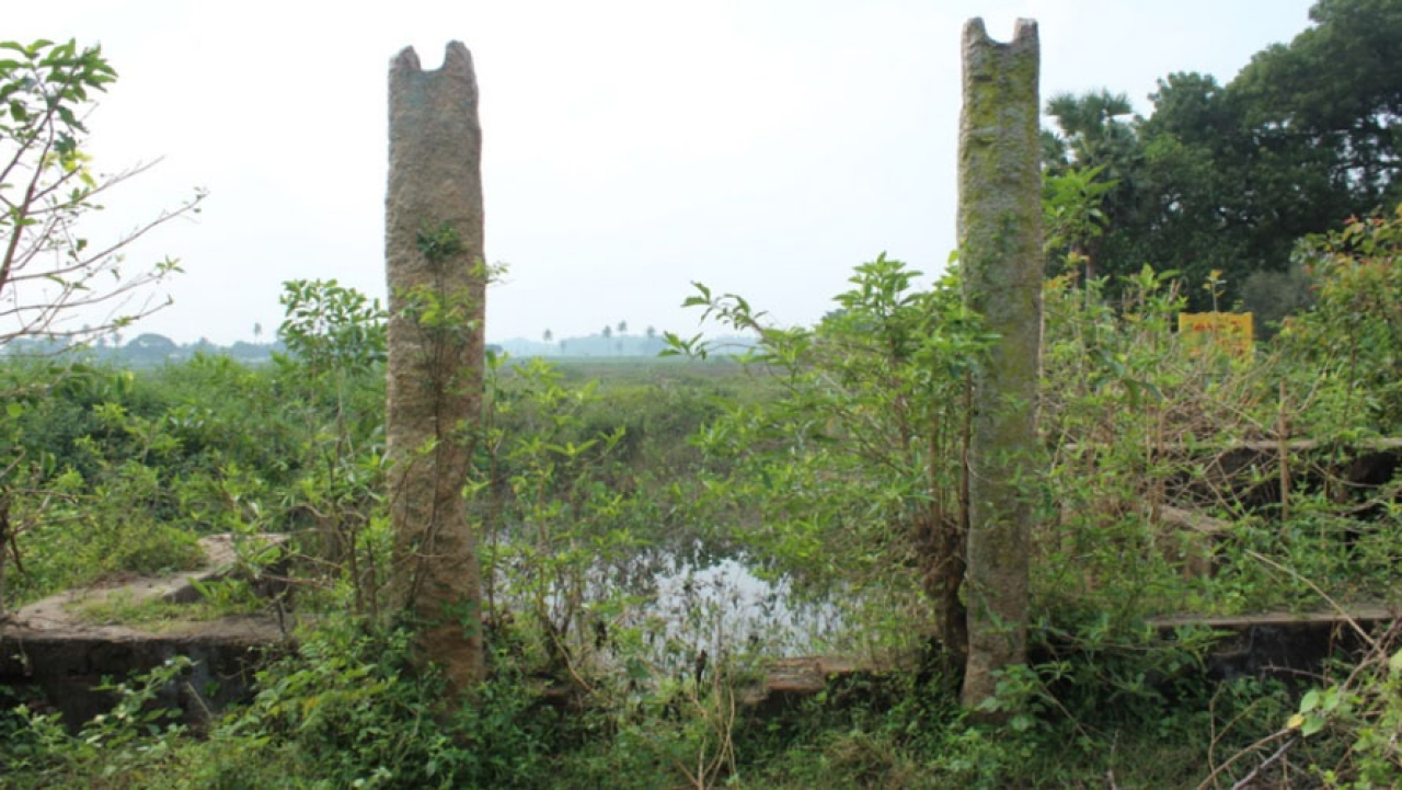 A traditional water body by the side of the Chatram.