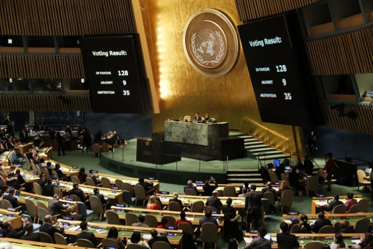 <p>The voting results are displayed on the floor of the United Nations General Assembly in which the US declaration of Jerusalem as Israel's capital was declared 'null and void'. (Spencer Platt/Getty Images)</p>